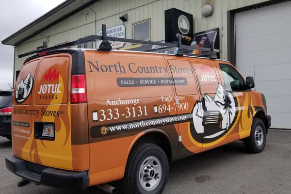 Full Wrap Graphics on North Country Stoves Van